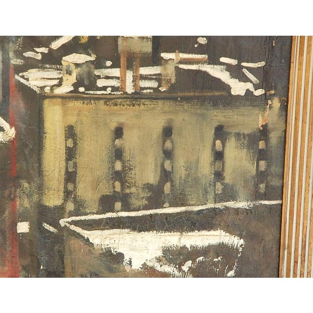 1940s 1940s Oil Painting of Bear Overlooking Shipyard For Sale - Image 5 of 9