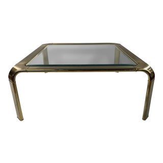 Mid-Century Brass Waterfall Coffee Table by John Widdicomb For Sale