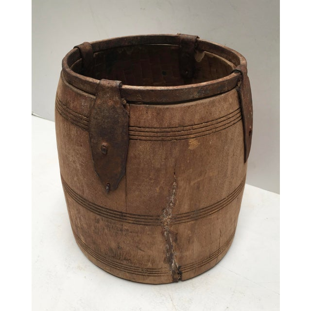 Primitive Antique Primitive Handmade Wood and Metal Grain Bucket For Sale - Image 3 of 9
