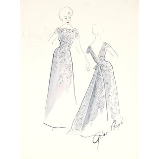 1950s Fashion Illustration by F. Gibson Bayh For Sale