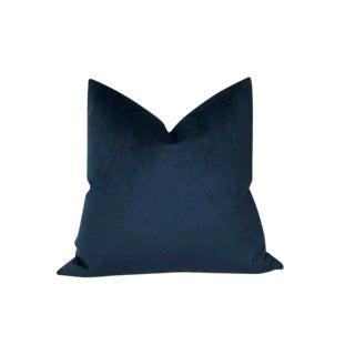 Navy Blue Velvet Pillow Cover For Sale