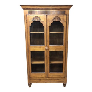 1990s Pine Farmhouse Style Cabinet With Chicken Wire Doors For Sale