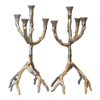 Vintage Brushed Aluminum Tree Branch Candelabras - a Pair For Sale