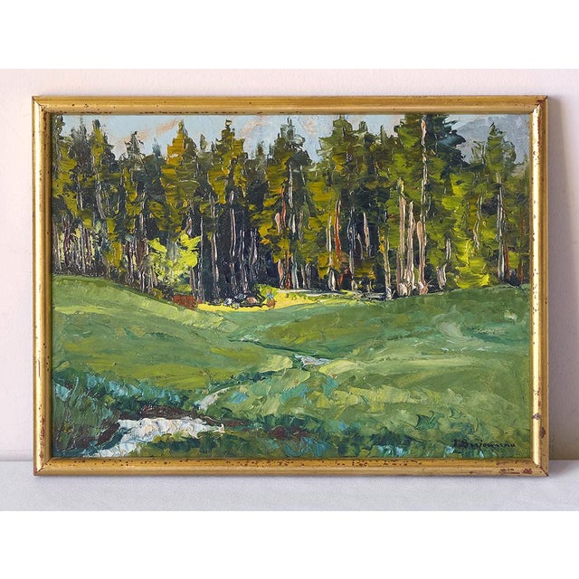 Lovely post impressionist oil painting of a forest by French listed artist, Jehan Berjonneau 1890-1966. Painted on...