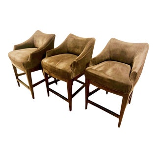 Contemporary Vanguard Furniture Olive Suede Bar Stools -- Set of 3 For Sale