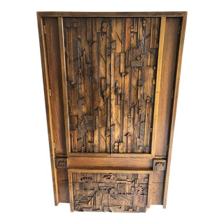 Brutalist Oak Wardrobe by Lane C.1970 V.Good For Sale