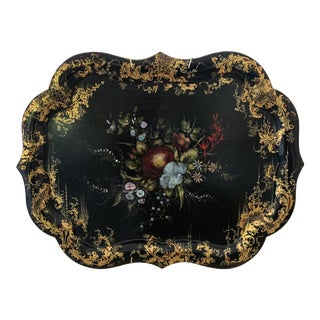 19th Century Abalone Inlaid Floral Tray For Sale