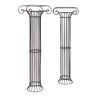 Late 20th Century Modern Ionic Black Painted Metal Columns - a Pair For Sale