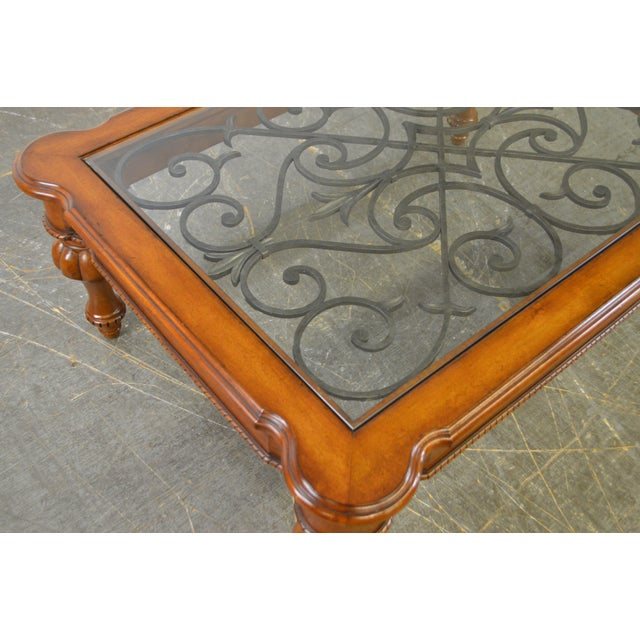 Ethan Allen French Country Style Glass & Scrolled Iron Top Coffee Table - Image 6 of 10