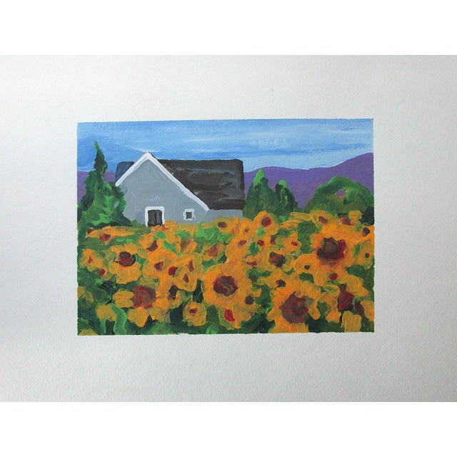 Watercolor Cottage California Plein Air Landscape Sunflower Farm 5x7 Painting by Lynne French For Sale - Image 7 of 7
