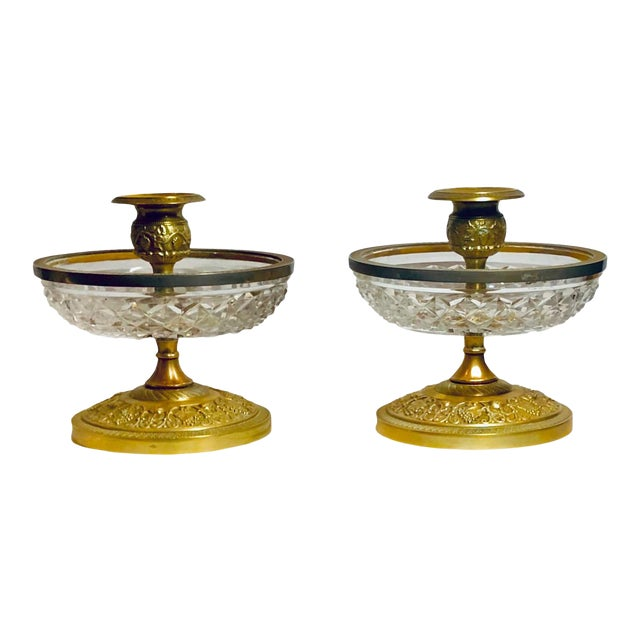 1940s Baccarat Dore Bronze Candleholders- a Pair For Sale