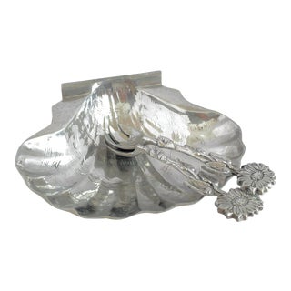 Polished Pewter Set Scallop Shell Serving Bowl & Salad Spoon and Fork, Final Markdown For Sale