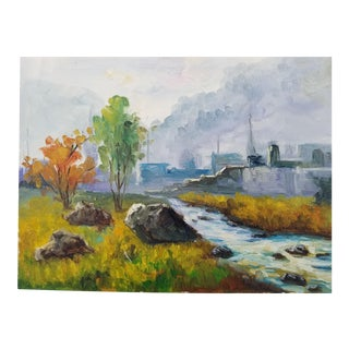 English Industrial Country Oil Painting For Sale