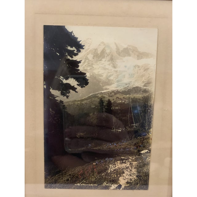 Nice vintage photograph of a mountain landscape, signed. Black and gold wooden frame. Under glass. Signature only...