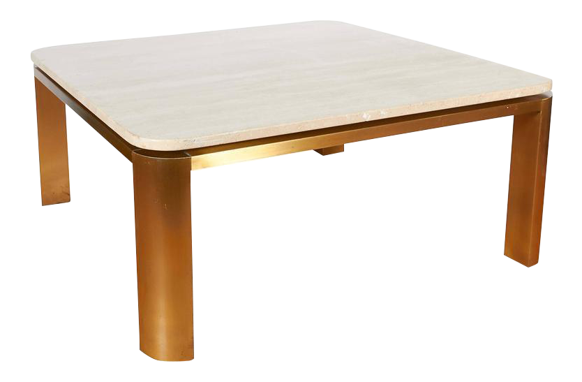 Leon Rosen Floating Travertine Top Coffee Table