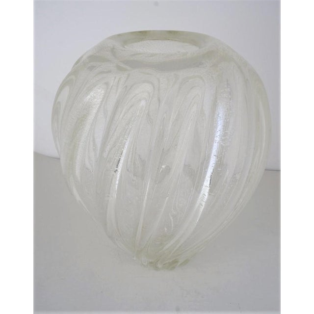 Contemporary Vintage Murano Glass Vase With Silver Flecks For Sale - Image 3 of 13