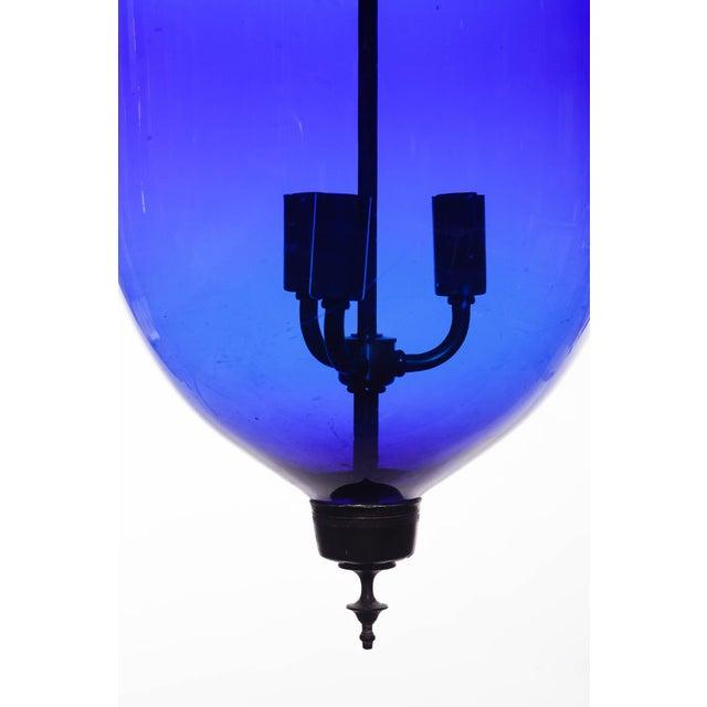 Vintage Large Deep Indigo Blue Glass Bell Jar Pendant Light For Sale In Seattle - Image 6 of 8