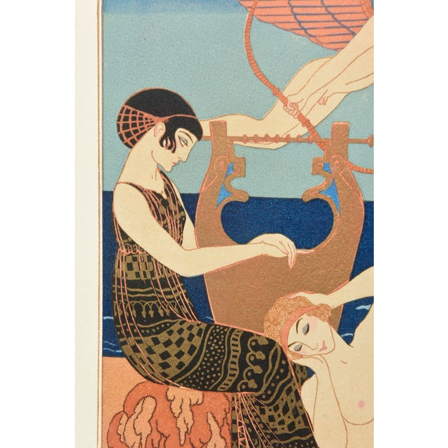 "1920s Georges Barbier Custom Framed Pochoir from the Portfolio "" Chansons de Biilitis"" For Sale - Image 5 of 9"