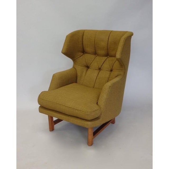 1950s Original Edward Wormley for Dunbar Modernist Wingback Lounge Chair For Sale - Image 5 of 7