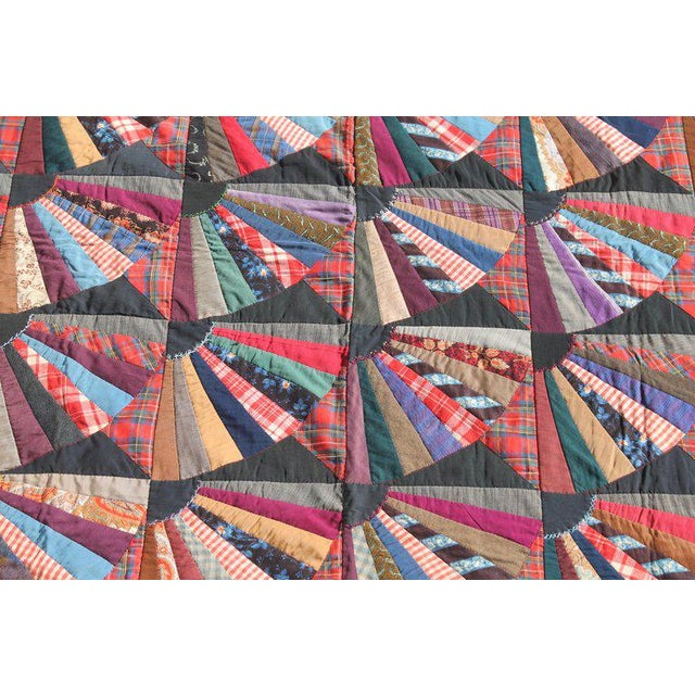 19th Century Crazy Fan Quilt For Sale - Image 4 of 11