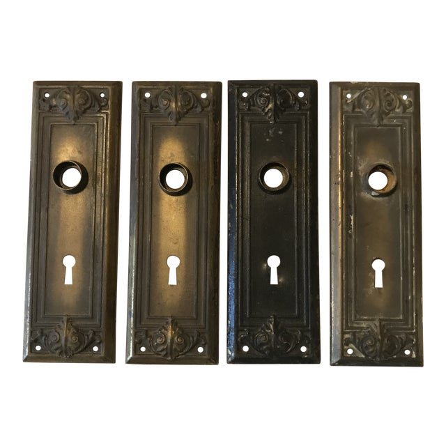 Antique Brass Architectural Door Plates - Set of 4 For Sale