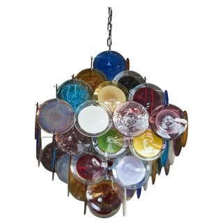 1 of 2 Large Multi-Color Murano Glass Disk Chandelier Attributed to Vistosi For Sale