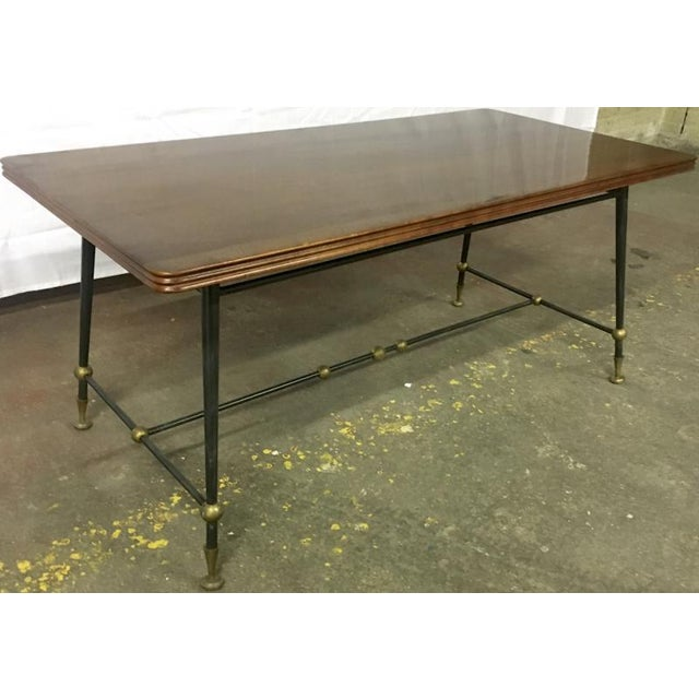 1950s Jules Leleu Stamped Coffee Table With Wrought Iron Base For Sale - Image 5 of 5