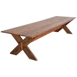Custom X-Trestle Table in Reclaimed Heart Pine For Sale