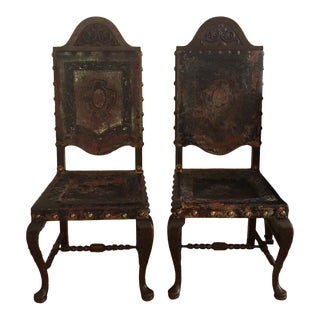 19th Century Vintage Spanish Chairs- a Pair For Sale