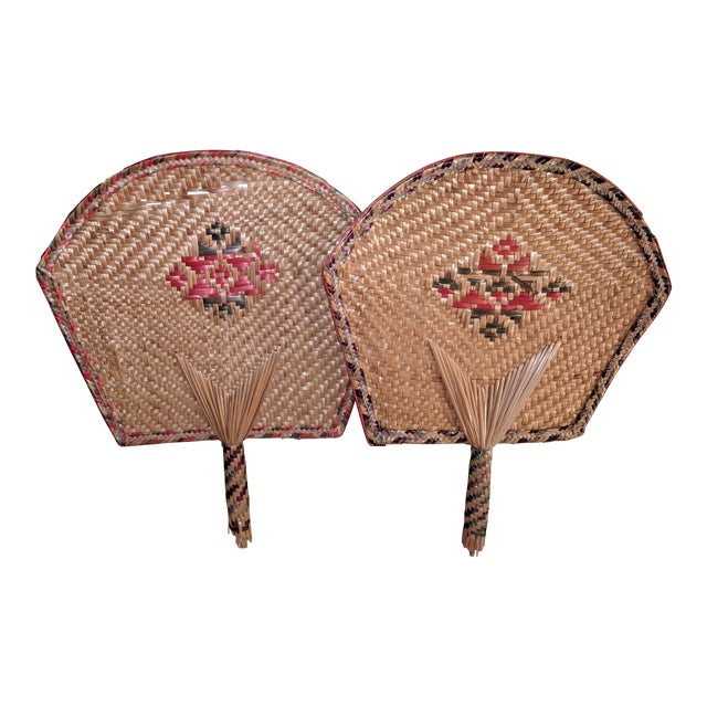Vintage Thai Woven Straw Bamboo Hand Fans - a Pair For Sale