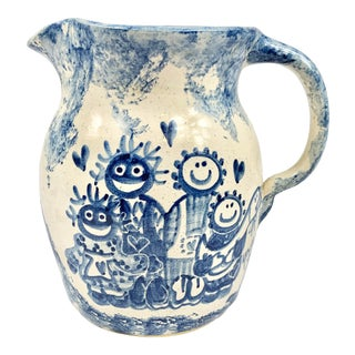 Vintage Handpainted Blue and White Pitcher For Sale