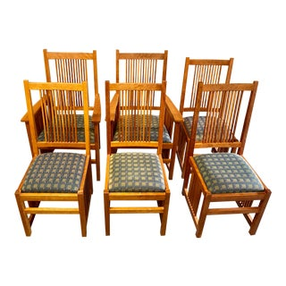 Vintage Scott Jordan Dining Chairs in Mission Style - Set of 6 For Sale