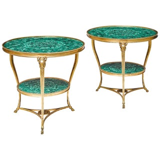 Fantastic Pair of Louis XVI Style Gilt Bronze and Malachite Gueridons Tables For Sale