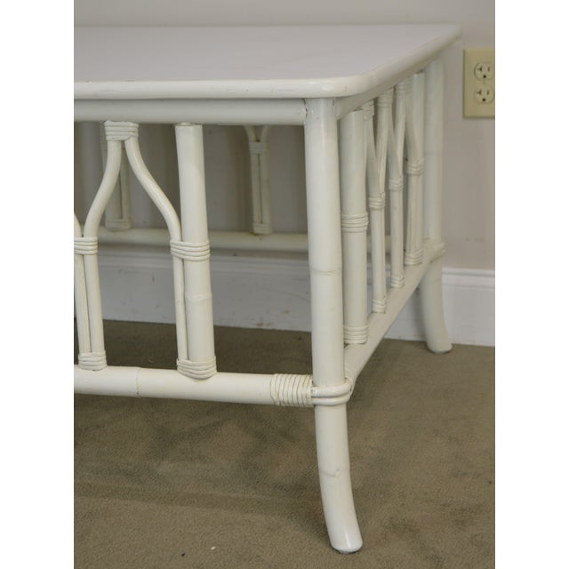 Ficks Reed White Painted Square Rattan Coffee Table For Sale - Image 11 of 13