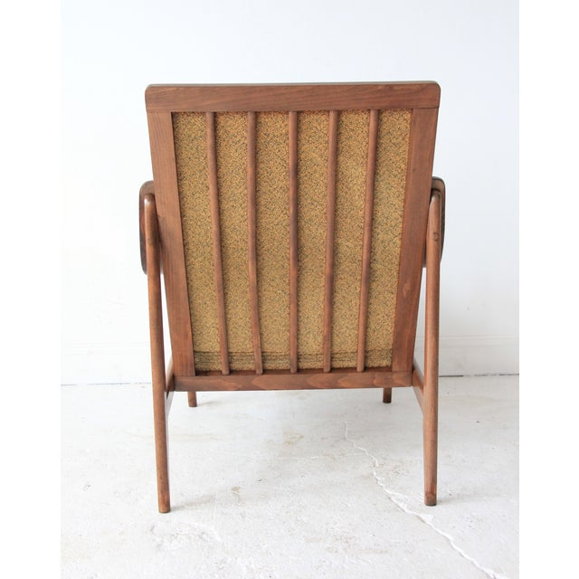 Vintage Mid Century Striped High Back Lounge Chair - Image 4 of 6
