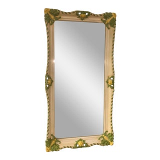 1970s Hollywood Regency Palm Beach Decor Resin Hand Painted Wall Mirror For Sale