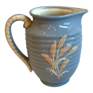 Vintage Blue Ceramic Wheat Pitcher For Sale