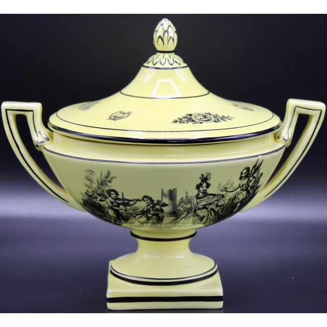 A stunning black & canary yellow ceramic Italian urn with an artichoke topped lid. Maker's mark on bottom, Mottahedeh...