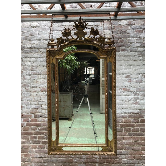 Louis XVI 19th Century Ornate Wall Mirror,France For Sale - Image 3 of 5