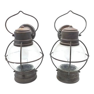 Vintage Boiler Room Nautical Wall Sconce Lights - a Pair For Sale