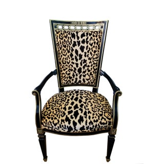Antique Leopard Velvet and Black Lacquered Occasional Chairs- a Pair Preview