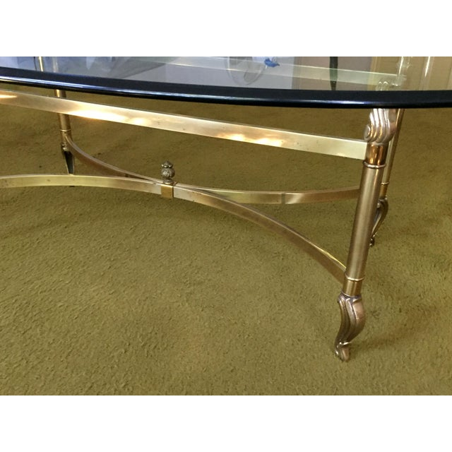 La Barge Hollywood Regency Brass & Clear Glass Coffee Table For Sale In Chicago - Image 6 of 6