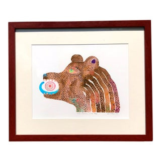 """A Bear Swallowed My Universe"" Signed and Framed Painting, Limited Edition For Sale"