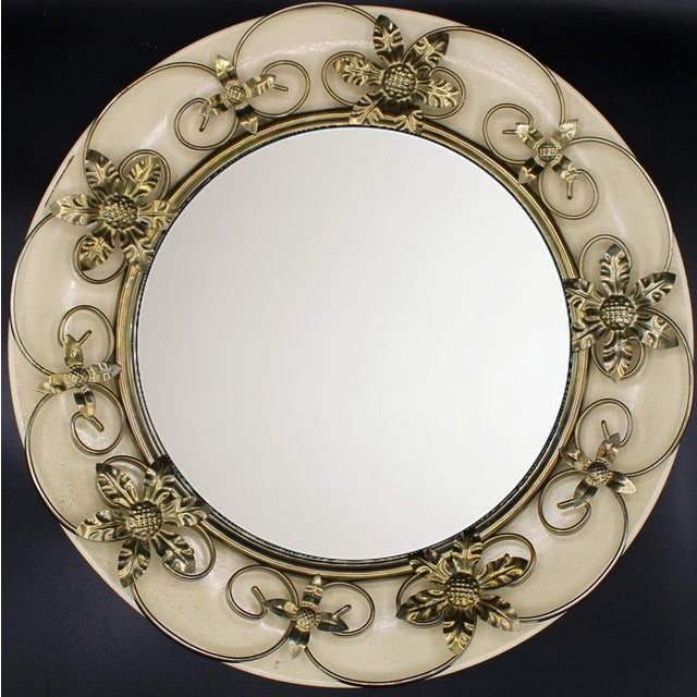 Vintage Round Floral Tole Convex Mirror For Sale - Image 9 of 10