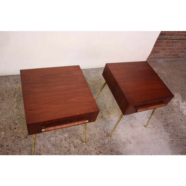 Pair of T.H. Robsjohn-Gibbings Walnut and Brass Nightstands For Sale In New York - Image 6 of 11