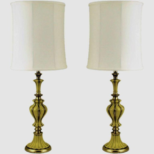 Pair Rembrandt Brass & Antiqued Saffron Yellow Table Lamps - Image 3 of 8