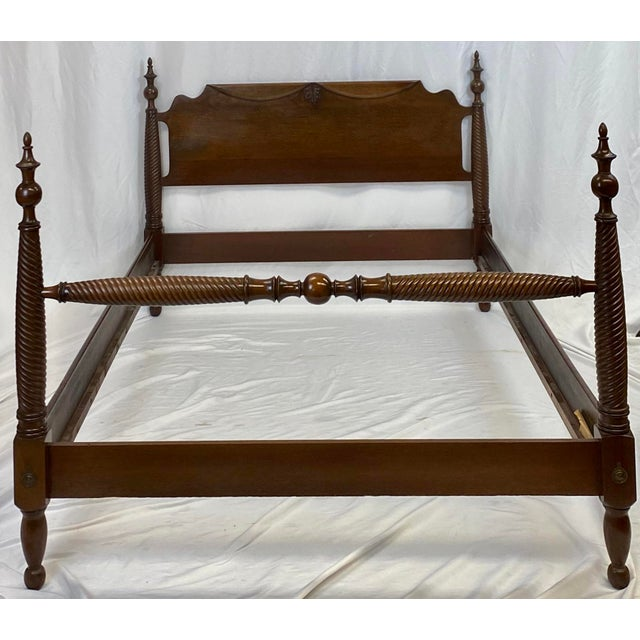 Mid 20th Century Mahogany Statton Trutype Full Four Poster Bedframe For Sale - Image 11 of 12