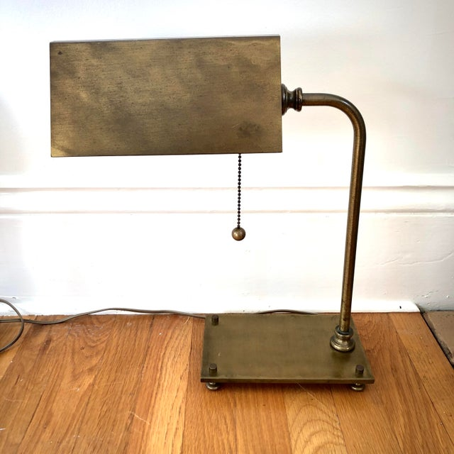 Pair of 1930's Solid Brass desk lamps in beautiful condition. Professionally re-wired.