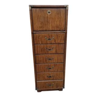 Vintage Campaign Style Highboy Dresser For Sale