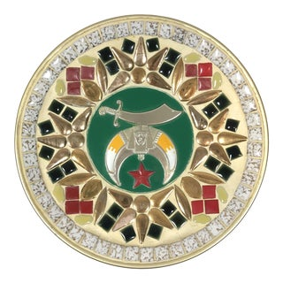 20th Century Folk Art Masonic Mosaic Plate For Sale